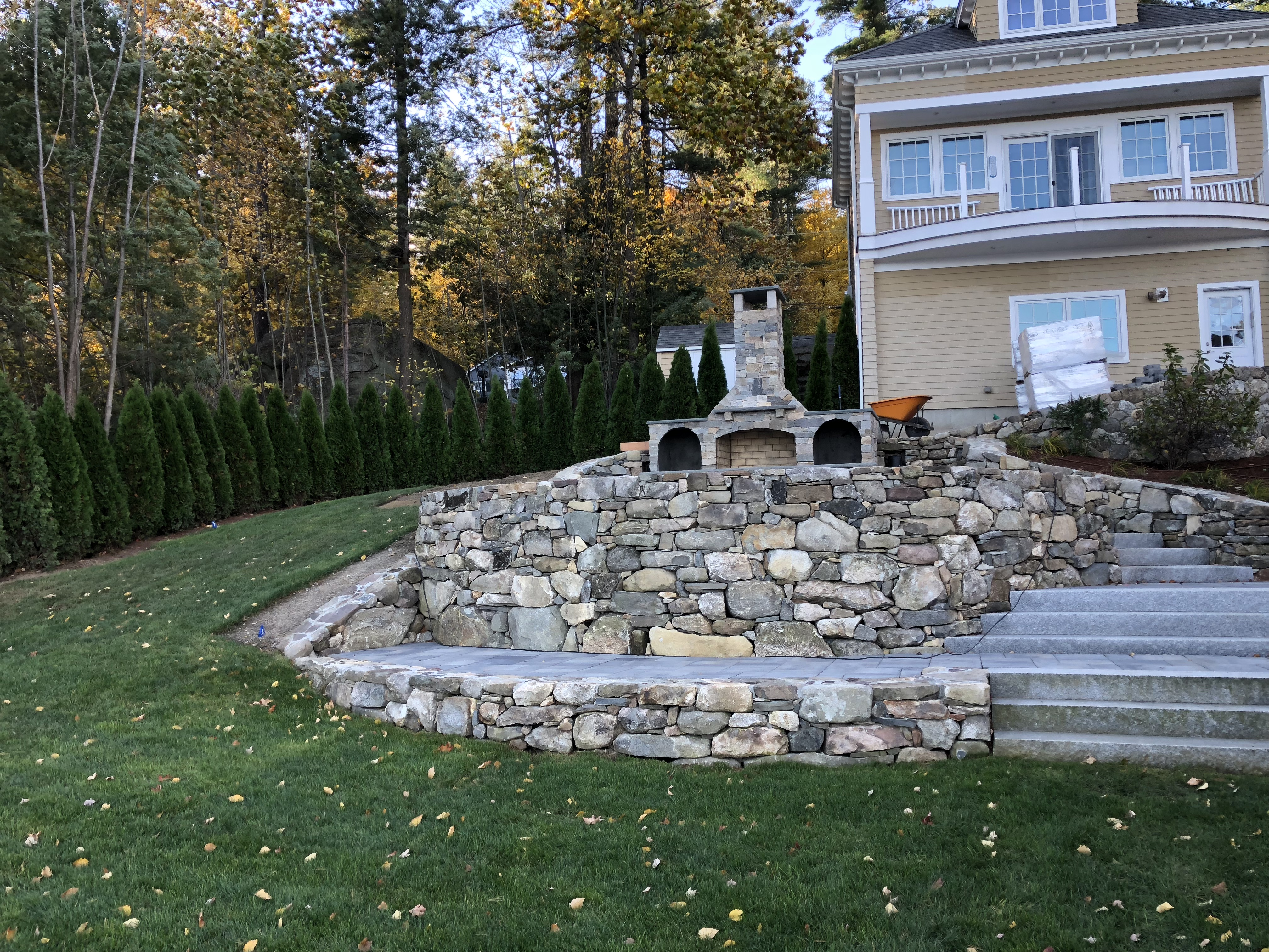 After Stone Fireplace and Patio