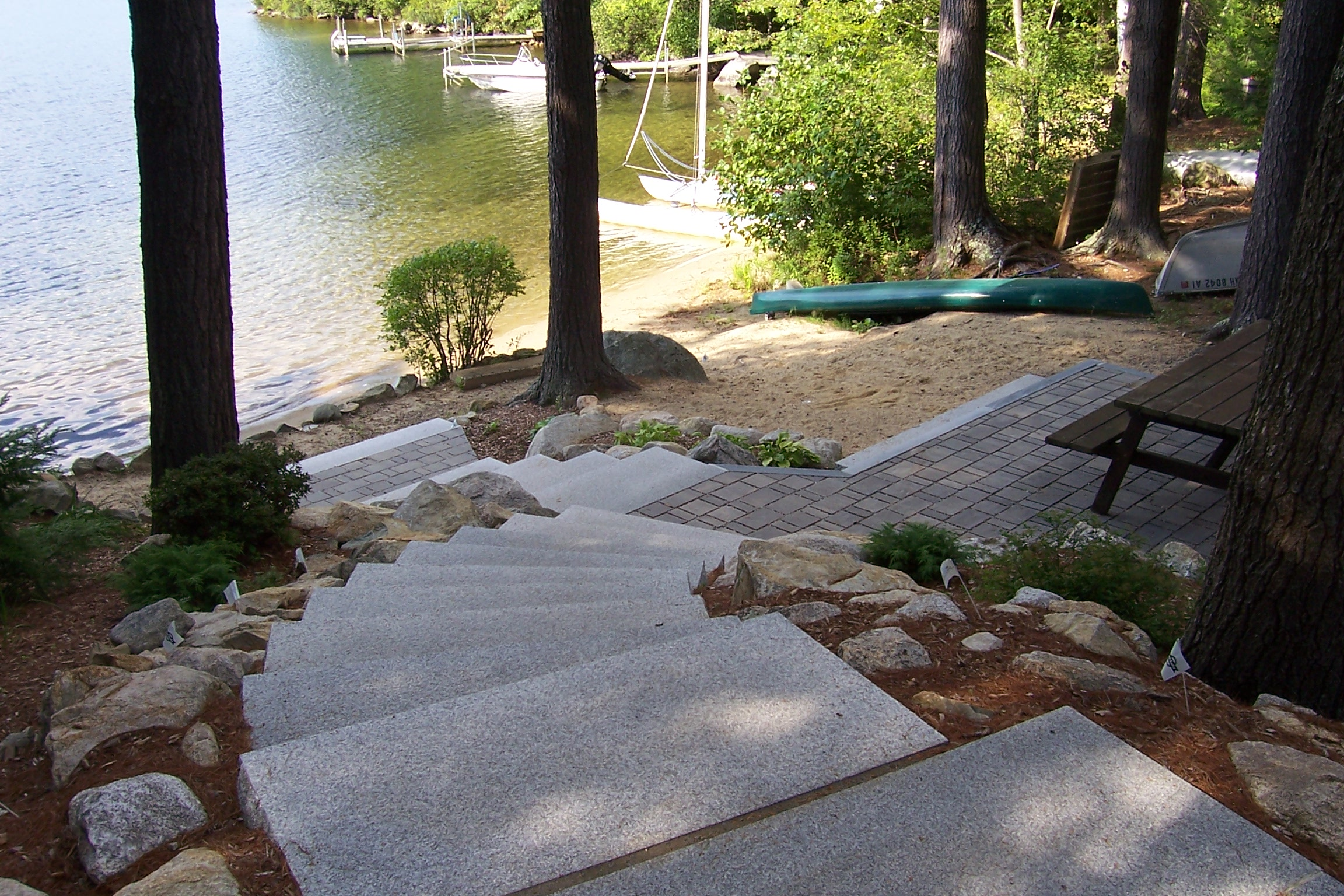 NH Lakeside Paver Patio with Granite Steps